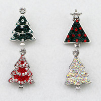 Wholesale New mix colors factory full rhinestone christmas tree snap buttons mm ginger snap buttons for DIY jewelry