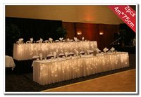 Wholesale 2pcs m cm Wedding Decoration Ice Silk Fabric Table Skirt In Ruffled Design With Metal Clips