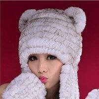 antifreeze brands - Brand New Vintage Fur Hat Women Scarf Hat Glove Set Winter Warm Thick Outdoor Windbreak Antifreeze Hat Scarf Bomber Rex Fox Fur