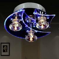 al por mayor iluminación de la lámpara de cristal de época-Luna Y Estrella Moderno araña de cristal de techo de luz LED de accesorios de la lámpara de la vendimia Luces Para Comedor US24