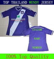 Barato superior de Tailandia Pro League Soccer Jersey Ander Anderlecht 2015 casa Kit Futbol púrpura conocido de encargo