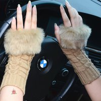 Knit ladies gloves - Cheapest Color Knit Finger Gloves Winter Knit Woolen Half Fingerless Computer Car Glove Woman Girl Lady Daughter Christmas Gifts M1674