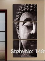 Cheap 3P Wall Art Religion Buddha Oil Style Painting On Canvas Framed Room Panels For Home Modern Decoration art print picture