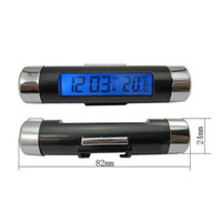 Wholesale Hot in1 Car Electronic LCD Digital Blue Backlight Automotive Thermometer Clock Calendar with Clip