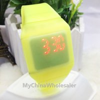 Wholesale High Quality Sports Square Led Digital Display Rubber Belt Silicone Ultra Thin Touch Watch Bracelets Wrist watches with Auto Date