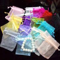 Wholesale 7X9cm paillette organza bag jewelry pouches packing bag candy bag