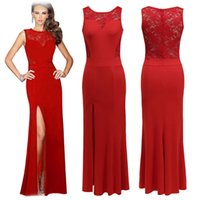 big red pictures - Euramerican Long Evening Dress Lace Stitching Split Big Dress Sexy Backless Bride Dress Perspective Dinner Cultivate Women s Morality Dress