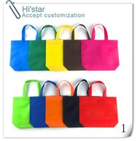 advertising pp bags - 20pcs New Wholesales Non Woven Shopping Bag Eco friendly Handbag Advertising Gift Bag Candy Color woven Bags