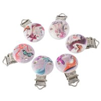 baby shoe holder - 5PCs Round Wooden Baby Pacifier Clip Infant Cute Soother Clasps High heeled Shoes Funny Holders High Quality cmx2 cm