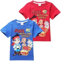 Wholesale 5pcs New Summer Clothing Kids Boys T shirt Short Sleeve Tops T Shirts Cartoon Jake and the Neverland Pirates Y