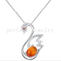 Wholesale Amber jewelry pendant Necklace sterling silver Natural real amber Perfect jewerly Wholesales For women or men DH
