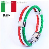 Wholesale World Cup Italy Fashion Jewelry Mens Womens Flag Faux Leather Bracelet Braided Wristband jewelry