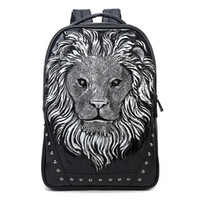 Wholesale 2015 D Lion Studded College Backpack for Men and women Unisex Vivid Animal Print Shoulder Bag PU leather rucksack00972