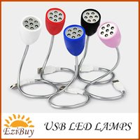 USB Light Yes Stock 7leds USB led lamp light 7 leds DC 5V white light 0.5W 5 color cases with retail package