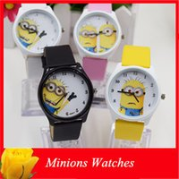Wholesale Kids Cartoon Despicable Me Minions Watches Cute Children Girls Boys PU Leather Quartz Wrist Watches For Christmas Gift