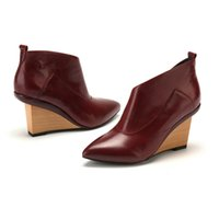 Wholesale D fuse Brand Ladies Wedge Ankle Boots Point toe boots cow leather high heel WEDGE ANKLE BOOTS