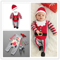 band baby onesies - Kids Boys Girls Christmas Rompers Toddler Baby Long Sleeve Stripe Jumpsuits Onesies With Hat Hair Band Babies Clothing Infants One Piece