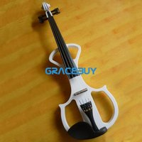 Wholesale Wooden Beginners Electric Violin Fiddle For Sale Black White Violine Send With Rosin Case And Headphone
