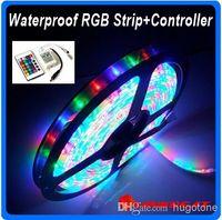 Wholesale Christmas lights led lights RGB LED String M Leds RGB light Strip Waterproof Keys IR Remote Controller V A Power