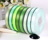apple asia - 100 yards Double faced Satin ribbon Green Apple Green Group II Group inch mm