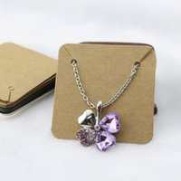 Wholesale Kraft Paper Jewelry Necklace Pendant Packaging Card cm Square Jewelry Necklace Display Pack Tags Label Brown Card