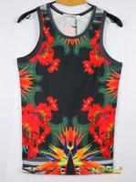 FG1509 [Ada] 3d Vest 2014 New Fashion Les débardeurs rétro drôle Imprimer Red Morning Glory top tees fleurs d'été A018