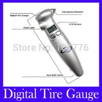 Wholesale in LCD Car Auto Digital Tire Gauge Tyre Meter Pressure Automobile Emergency Hammer Flashlight Cutter