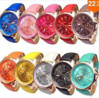 Wholesale 2015 Geneva Watch Women Fashion Quartz Watches Casual Ladies Dress Watches Gold Roman Dial Wristwatch Relogio Feminino Masculino