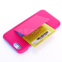 Cheap Back Cover Case Protective With Credit Card Slot Stand Cell Phone Skin Protector Silicone PC for iPhone6 iPhone 6 4.7 4.7'' Inch 6 plus 5.5""