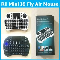 Wholesale RII Mini I8 Fly Air Mouse G Mini Wireless Keyboard Mouse for M8 CS918 MXQ MX MX3 MXIII TV Box Retail packing Touchpad Handheld