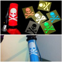 Wholesale Cool DIY motorcycle cars bicycle decoration fluorescent skull stickers reflective decal for outdoor sports accessories HX