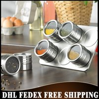 Wholesale Free DHL Fedex sets Stainless Steel Magnetic Cruet Condiment Spices Box Set For Seasoning Kitchen Cooking Tools