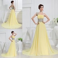 Wholesale One Shoulder Evening Dresses with Silver Embroidery Ruffled Chiffon A Line Ball Gown Bridesmaid Designer Occasion Dresses for Wedding Events