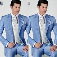 Cheap 2015 Italian Mens Suits light sky blue men Tuxedos Jacket+Pants+Tie+Vest formal suits men suits Groomsmen suits