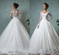 Wholesale Cheap Princess Ball Gown Dresses - Amelia Sposa 2016 Lace Wedding Dresses Long Sleeve Bridal Ball Gown Sexy Vintage Cheap V-Neck Arabic Sheer Wedding Dress Appliques
