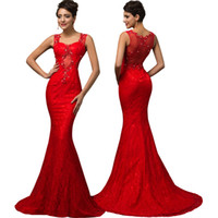 grace karin - Grace Karin Newest Sexy Mermaid Red Lace Sweetheart Formal Evening Prom Dresses US Size CL007585