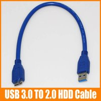 Wholesale HDD Cable Micro USB Male to USB Male Moblie HDD Cables CM Blue High Quality for Samsung Note N9005 up