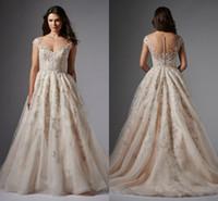 audrey hand - Watter Wtoo Audrey Gown Stunning Blush Cap Sleeve Wedding Dresses Plus Size Sheer Neck Zipper Back Wedding Gown