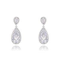 big flower earrings - White Tear Charming Gold Plating Alloy Big Crystal Rhinestone Crown Set Ear Drop Earrings Gift For Women Girls Jewelry