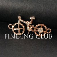 Wholesale Rose Gold plated Rhinestone Bike Bicycle Charm Connector x22mm RS553
