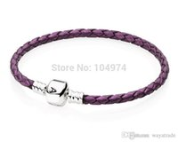 beaded chain hands - New Sale Promotion New Arrival Purple Woven Leather Bracelet Silver Bangle Hand Chain Fit European Charms Beads CM Length New New