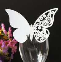 Wholesale 50 White Butterfly with Flowers Laser Cut Wedding Table Number Name Place Card Wedding Party Decoration Favor