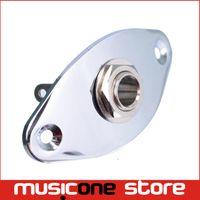 Wholesale Chrome Oval Indented quot Guitar Pickup output Input Jack Plug Socket for Bass Guitar MU0226