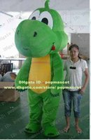 Wholesale Adorable Green Dragon Dinosaur Dino Phytodinosauria Loong With Yellow Belly Mascot Costume Mascotte Adult Suit No Free Ship