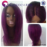 cheap full lace wigs - 1bTpurple ombre cheap full lace human hair wigs glueless lace front wig straight bob cut wigs
