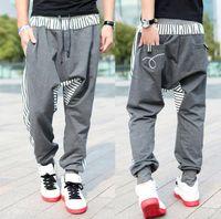 Men drop crotch pants - Autumn new men s casual trousers Fashion narrow feet cotton drop crotch pants mens hip hop sweatpants Size M XXL