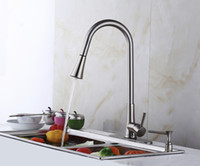 Wholesale luxury cm tall brush nickle brass pull out spray rotating kitchen sink faucet mixer tap with cover plate and soap dispenser
