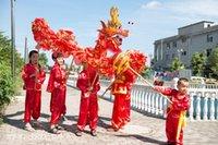 dragon dance - children size red silk print fabric CHINESE Kid DRAGON DANCE Folk Festival Celebration Costume dragon mascot costume