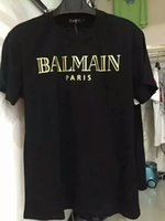 t-shirts no logo - 2016 Summer Balmain Pairs Men s Basic Logo Print T Shirt Gold BALMAIN PAIRS Typography Printed Tee Shirt Shipping Worldwide