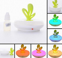 Wholesale Essential Oil Diffuser Colorful Changing Night Light Coral Aromatherapy Lamp Green Leaf Fragrance Lamp